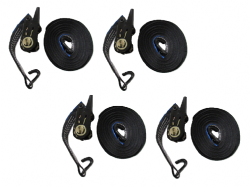 25MM Black Ratchet Straps 10M with J Hook x4 - 0.8 Ton Tie Down Trailer Cargo Truck